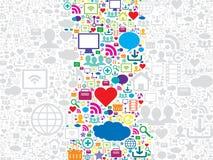 Naadloze patroon sociale media en technologiepictogrammen Stock Afbeeldingen