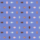 Naadloze patroon van beeldverhaal het dierlijke krabbels Royalty-vrije Stock Foto
