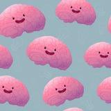 Naadloze patroon van Brainstorn het gelukkige hersenen Royalty-vrije Stock Foto's