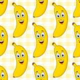 Naadloze Patroon van de beeldverhaal het Leuke Banaan stock illustratie
