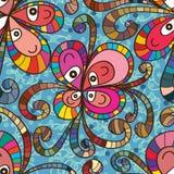 Naadloze patroon van de bloem het leuke lijn Royalty-vrije Stock Afbeelding