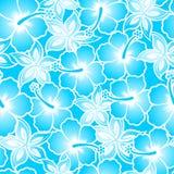 Naadloze patroon van de hibiscus het tropische blauwe gradiënt Stock Fotografie