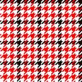 Naadloze patroon van de Houndstooth het geometrische plaid in zwart rood en wit, vector stock illustratie