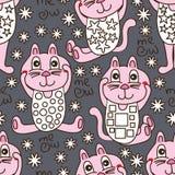 Naadloze patroon van de katten het kleurende doek Royalty-vrije Stock Afbeelding