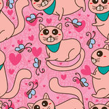 Naadloze patroon van de katten het leuke lange staart Royalty-vrije Stock Afbeeldingen