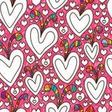 Naadloze patroon van de liefde het leuke kleuring Royalty-vrije Stock Afbeeldingen