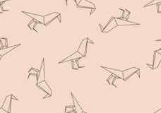 Naadloze patroon van de origami het zwarte vogel Royalty-vrije Stock Foto's