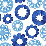 Naadloze patroon van de waterverf het abstracte bloem. Stock Foto
