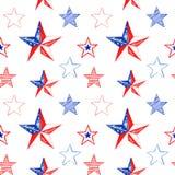 Naadloze patroon van de waterverf schilderde het herdenkingsdag met hand rode, witte en blauwe sterren Feestelijke 4 van juli her stock illustratie