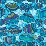 Naadloze patroon van de wolken retro blauwe lijn Royalty-vrije Stock Fotografie