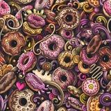Naadloze patroon van Donuts van beeldverhaal het leuke krabbels hand getrokken Royalty-vrije Stock Afbeelding