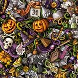 Naadloze patroon van Halloween van beeldverhaal het leuke krabbels hand getrokken vector illustratie