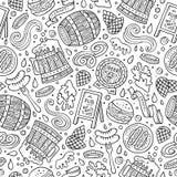 Naadloze patroon van het beeldverhaal het leuke hand getrokken Bier fest vector illustratie