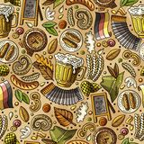 Naadloze patroon van het beeldverhaal het leuke hand getrokken Bier fest stock illustratie