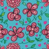 Naadloze patroon van het bloem het vrije blad vector illustratie