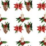 Naadloze patroon van hulst het heel Vrolijke Kerstmis Royalty-vrije Stock Afbeelding