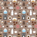 Naadloze patroon van koffie het vlakke pictogrammen Stock Foto