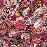 Naadloze patroon van manicure het hand getrokken krabbels De achtergrond van de spijkerskunst stock afbeeldingen
