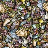 Naadloze patroon van massage het hand getrokken krabbels De achtergrond van de kuuroordtherapie vector illustratie