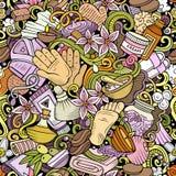 Naadloze patroon van massage het hand getrokken krabbels De achtergrond van de kuuroordtherapie royalty-vrije illustratie