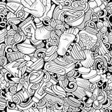Naadloze patroon van massage het hand getrokken krabbels De achtergrond van de kuuroordtherapie stock illustratie