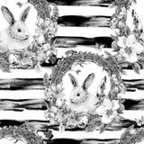 Naadloze Patroon van Pasen van de waterverflente het Gelukkige Stock Afbeelding