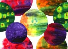Naadloze patroon van waterverf het abstracte cirkels Stock Afbeelding