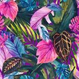 Naadloze patroon van waterverf het tropische bladeren vector illustratie