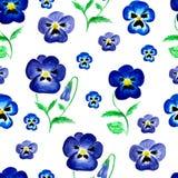 Naadloze patroon van waterverf het violette bloemen Royalty-vrije Stock Foto's
