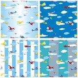 Naadloze patroon vastgestelde vliegtuigen Stock Foto