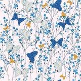 Naadloze Patroon wilde die bloemen, vlinders, op roze col. worden geïsoleerd Stock Foto