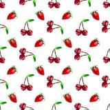 Naadloze patroonaardbei en kers Veelhoekfruit Vector Royalty-vrije Illustratie