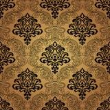 Naadloze patroonachtergrond. Damastbehang. Royalty-vrije Stock Afbeelding