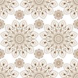 Naadloze patroonachtergrond met bruine en witte van het kantbuta van de mehndihenna de decoratiepunten in Indische stijl stock illustratie