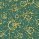 Bloemen Naadloze Donkergroen royalty-vrije illustratie