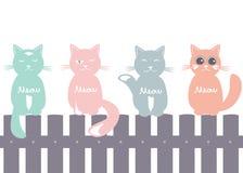 Naadloze patroonachtergrond met katten op de omheining vector illustratie