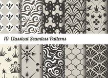 Naadloze patroonachtergrond Reeks van 10 klassieke motieven Stock Fotografie