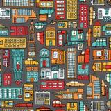 Naadloze patroonachtergrond van beeldverhaalstad Stock Fotografie