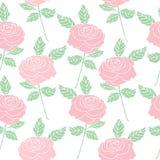 Naadloze patroonachtergrond van de uitstekende bloem van stijlrozen Stock Foto