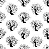 Naadloze patroonachtergrond, zwart-witte boom Royalty-vrije Stock Afbeelding