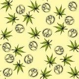 Naadloze patrooncannabis en de Stille Oceaan een symbool van de hippie Stock Foto