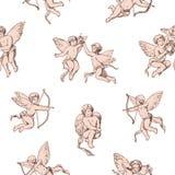 Naadloze patrooncupido's die bogen houden en pijlen op witte achtergrond schieten Achtergrond met roze leuke engelen, goden van vector illustratie