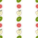 Naadloze patroongrapefruit als achtergrond, kiwi, appel Royalty-vrije Stock Foto