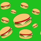 Naadloze patroonhamburger Royalty-vrije Stock Fotografie