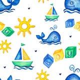 Naadloze patroonillustratie met hand getrokken de zeilbootstuurwiel van de waterverfwalvis en kubussenjongen royalty-vrije stock fotografie