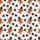 Naadloze patroonillustratie van de peperkoekmens in een cilinder w Royalty-vrije Illustratie