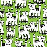 Naadloze patroonkat op groen Stock Afbeeldingen