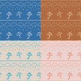 Naadloze patroonparaplu's Royalty-vrije Stock Afbeelding