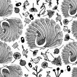Naadloze patroonpauw en vogeltjes en installaties Stock Fotografie