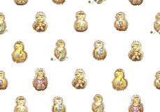 Naadloze patroonreeks van een familie van zeven vriendschappelijke egels die pret heeft Het lezen, het breien, het eten, het slap vector illustratie